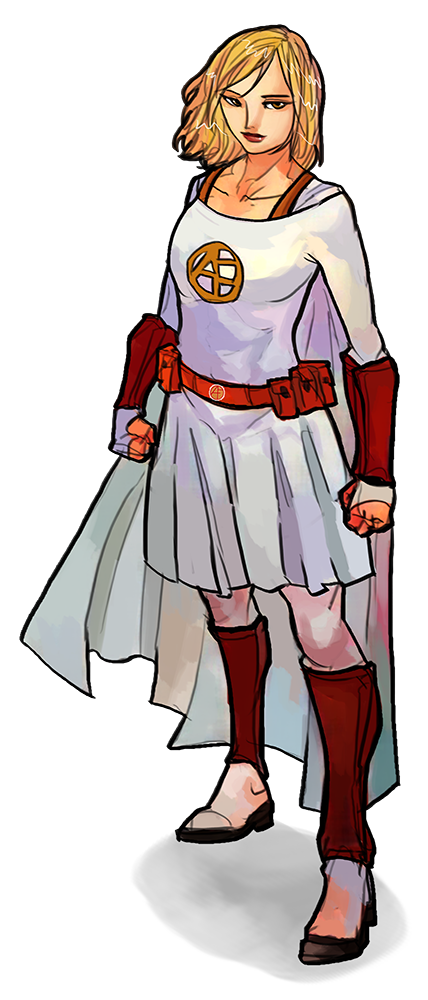 alice the last founder, superhero pose